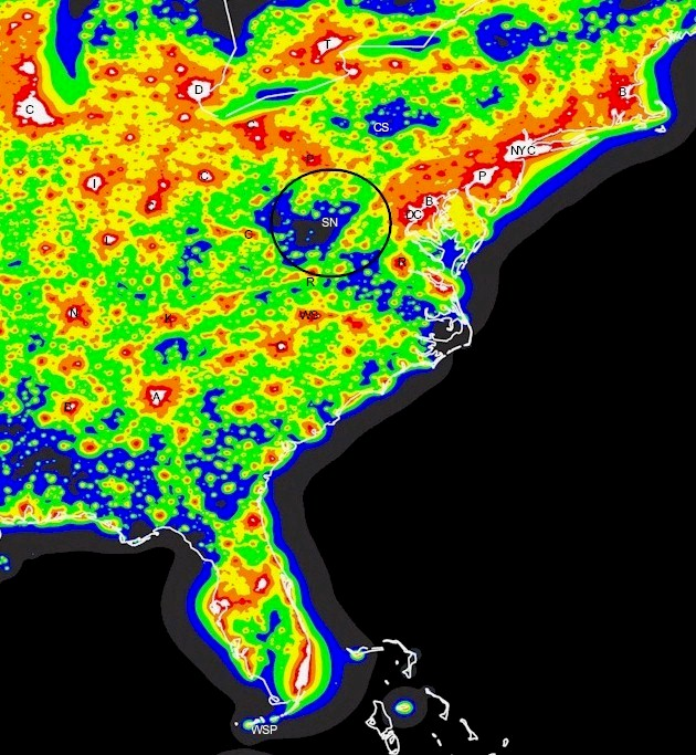 Light Pollution Map Eastern US - Us light pollution map